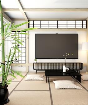Pokój telewizyjny, inteligentny telewizor na ścianie pokój zen bardzo japońska podłoga z styami i tatami. renderowanie 3d