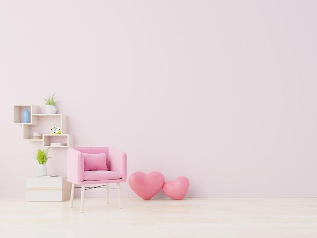 Pokój uwielbiający nowoczesne wnętrze ma fotel i wystrój domu na walentynki.