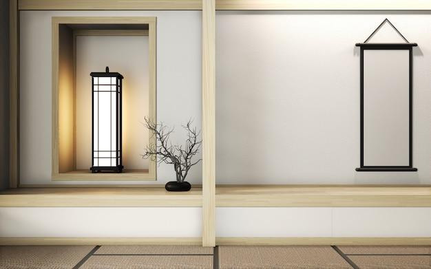 Pokój w stylu bardzo zen z dekoracją w stylu japońskim na macie tatami. renderowanie 3d