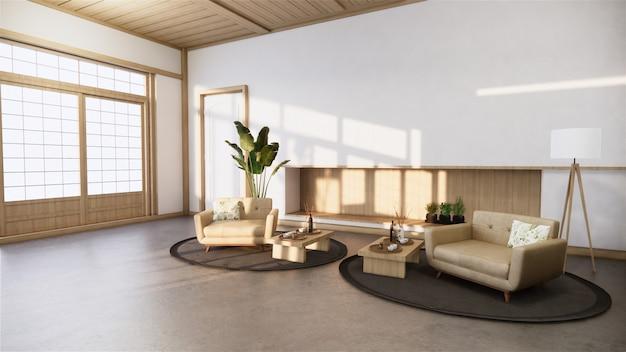 Pokój w stylu zen i drewniany wystrój, ton ziemi.