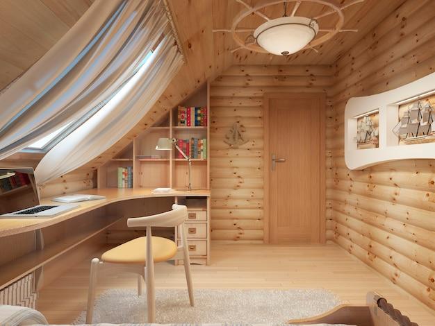 Pokój wewnętrzny z bali dla nastolatka z drewna w stylu marynistycznym i wystroju