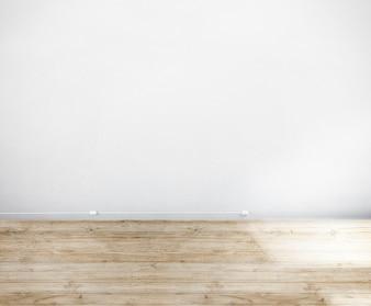 Pokój wykonany z białej ściany i drewnianej podłogi