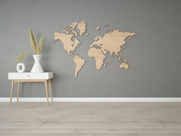 Pokój z betonową ścianą i drewnianą mapą świata