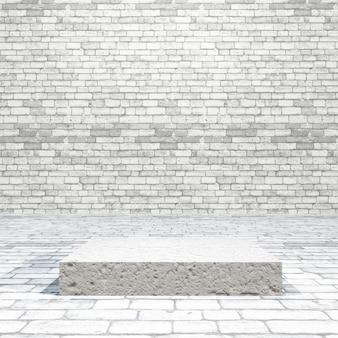 Pokój z cegły 3d z pustym podium