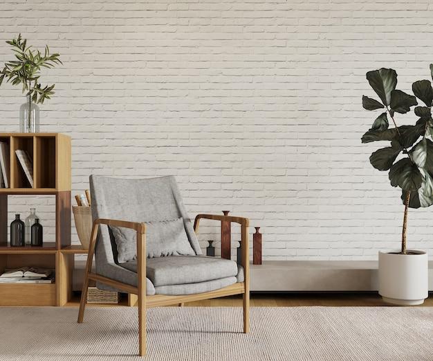 Pokój z krzesłem i rośliną