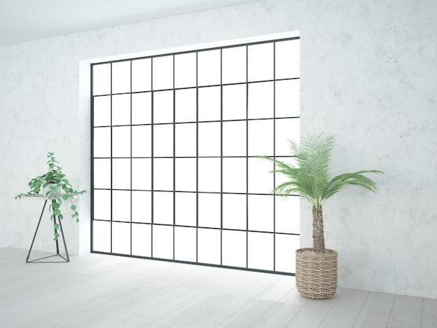 Pokój z oknem na poddaszu i małymi roślinami we wnętrzu