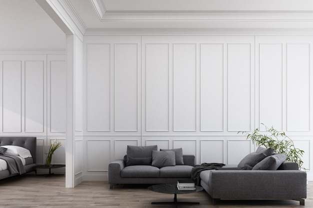 Pokój z panelowymi ścianami i meblami