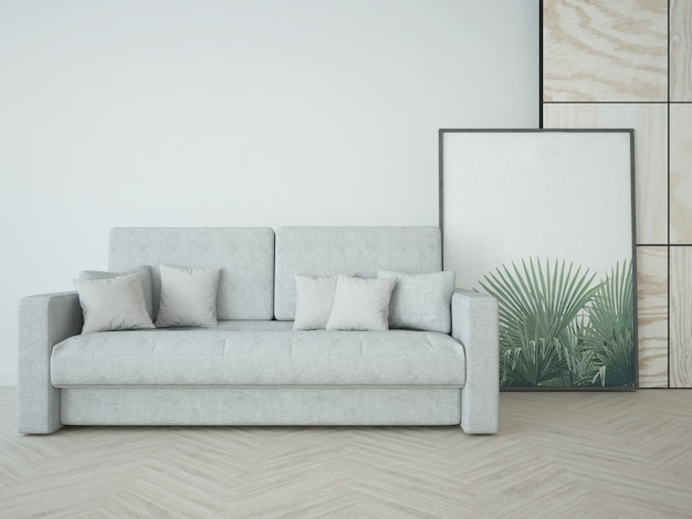 Pokój z sofą i dużym obrazem w ramie in