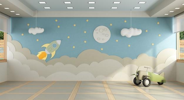 Pokój zabaw bez mebli z dekoracją na ścianie w tle