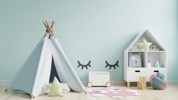 Pokój zabaw dla dzieci z namiotem i stołem do siedzenia