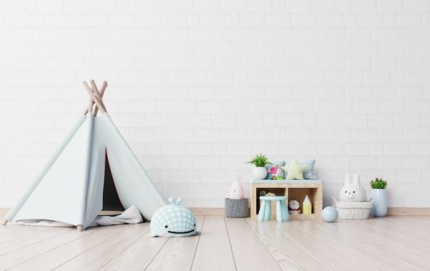 Pokój zabaw dla dzieci z namiotem i stołem, lalka.