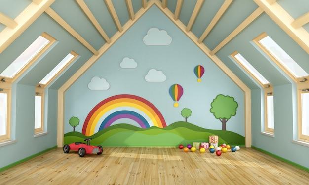 Pokój zabaw na poddaszu z zabawkami i kolorową dekoracją na ścianie
