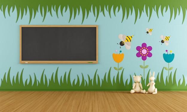 Pokój zabaw z kolorowymi dekoracjami i tablicą. renderowanie 3d