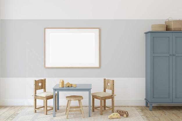 Pokój zabaw ze stołem i krzesłami dla dzieci. makieta wnętrza i ramy. renderowania 3d.