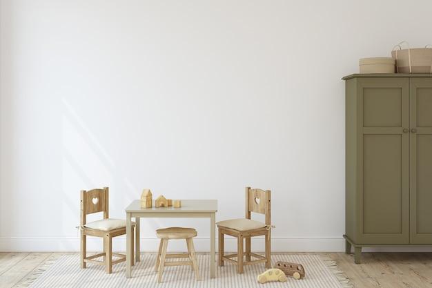 Pokój zabaw ze stołem i krzesłami dla dzieci. makieta wnętrza. renderowania 3d.