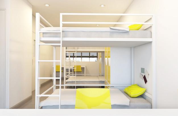 Pokoje wieloosobowe w hostelu rozmieszczone w pokoju