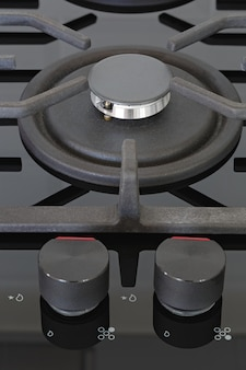 Pokrętła sterujące palnikami na kuchence gazowej