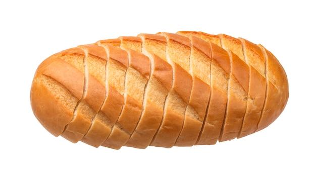 Pokrojony biały chleb odizolowywający na białym tle