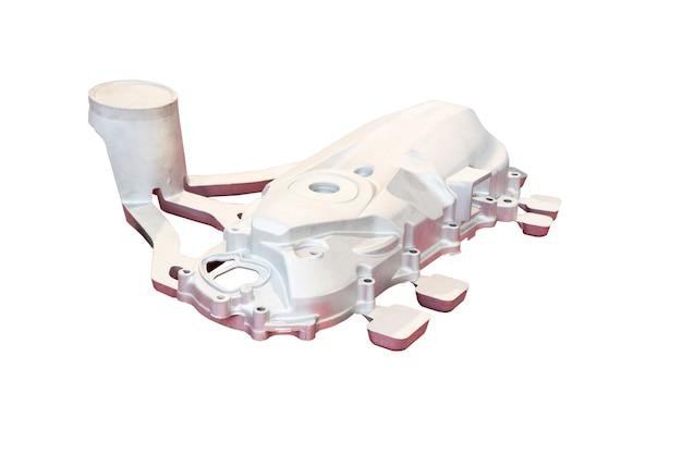 Pokrywa skrzyni korbowej motocykla wykonana w procesie wysokociśnieniowym z aluminium z systemem wlewowym; przed procesem obróbki