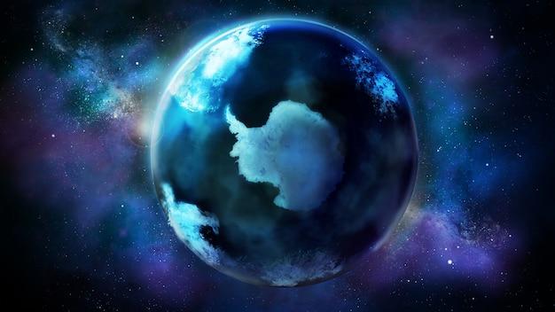 Pół dnia ziemi z kosmosu pokazuje antarktydę.
