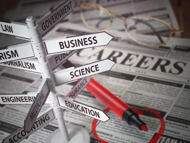 Pola kierunku kariery, koncepcja poszukiwania pracy, gazeta z ogłoszeniem o pracy i szyld z dziedziną kariery. ilustracja 3d