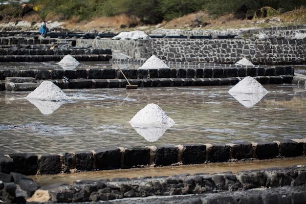 Pola soli na wybrzeżach oceanu indyjskiego na mauritiusie. zbiór soli.