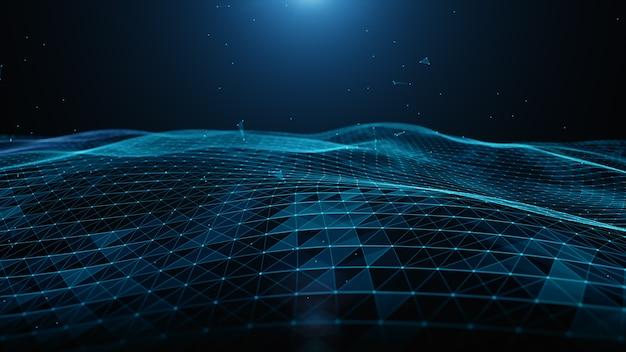 Połączenie abstrakcyjne niebieskie cząsteczki cyfrowe, linie i kropki