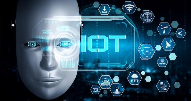 Połączenie internetowe kontrolowane przez robota ai i proces uczenia maszynowego w celu analizy łączności danych i bezpieczeństwa cybernetycznego. ilustracja 3d.