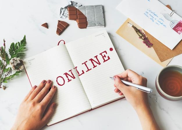 Połączenie online koncepcja graficzna sieci mediów społecznościowych