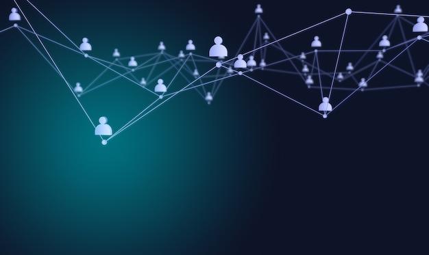 Połączenie społeczne lub komunikacja biznesowa. sieć kontaktów na niebieskim tle. renderowania 3d