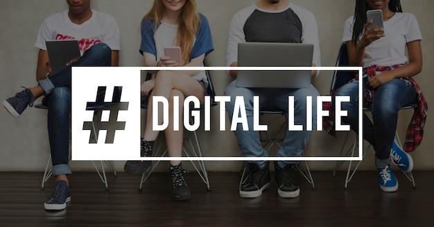 Połączenie technologii digital life icon