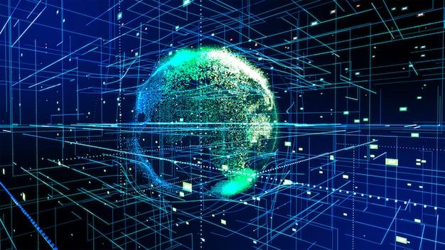 Połączenie wokół ziemi, motyw tła z efektem świetlnym. streszczenie technologia tło renderowania 3d