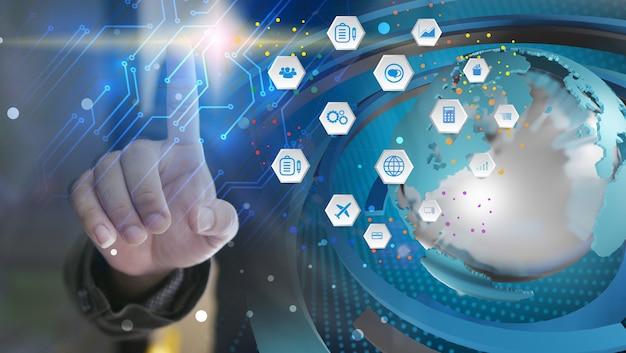 Połączona mapa świata, media społecznościowe, sieć społecznościowa, biznes globalizacji, renderowanie 3d