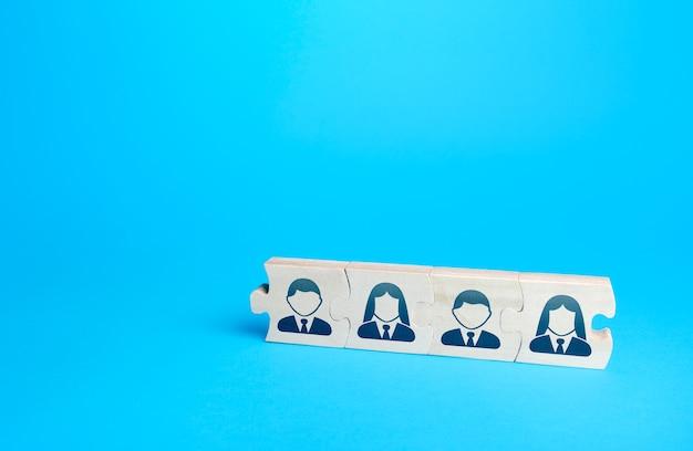 Połączone łamigłówki z ludźmi efektywni pracownicy biznesowi kolektywy grupowe przywództwo personalne