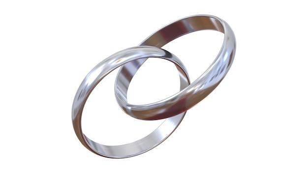 Połączone pierścionki zaręczynowe. dwa srebrne pierścionki na całkowicie białym tle.