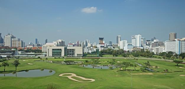 Pole golfowe widok panorama z zielonej trawy polem i zieloną świeżą drzewną rośliną