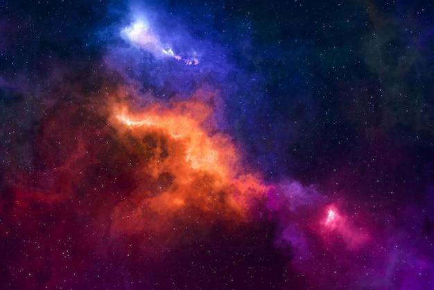 Pole gwiazd w wysokiej rozdzielczości, kolorowe nocne niebo. mgławica i galaktyki w kosmosie. tło koncepcji astronomii.