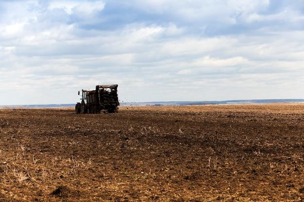 Pole rolnicze, na którym stary traktor rozprowadza obornik w celu nawożenia ziemi