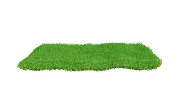 Pole trawa zielona na białym tle. renderowanie 3d