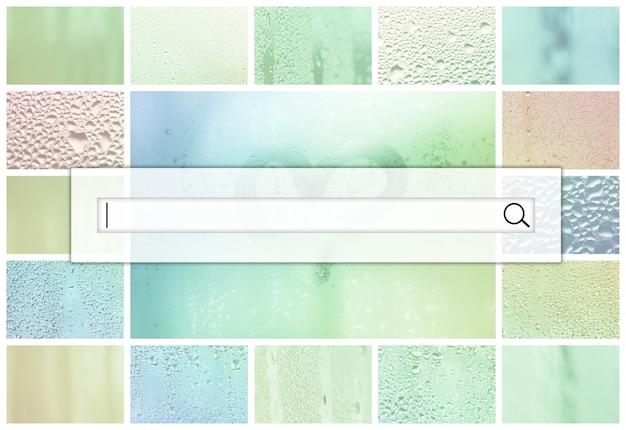 Pole wyszukiwania znajduje się na górze kolażu wielu różnych fragmentów szkła