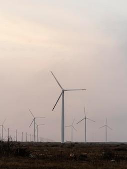 Pole z wieloma turbinami wiatrowymi wytwarzającymi energię elektryczną