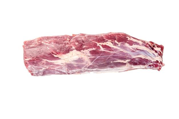 Polędwica wołowa. duży kawałek mięsa na białym tle na białym tle. widok z góry.