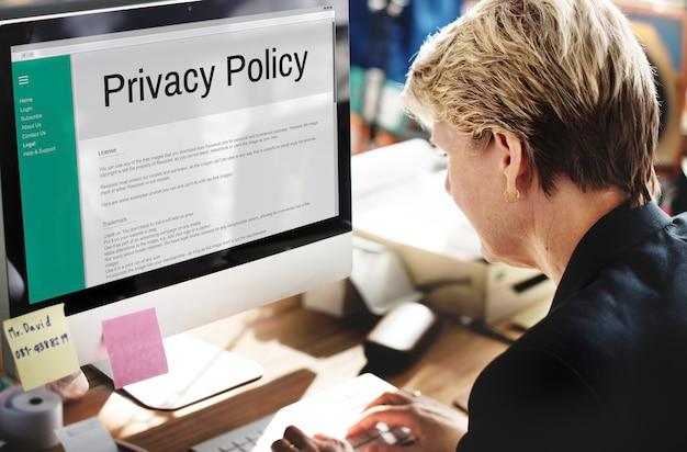 Polityka prywatności zasady dotyczące informacji zasady strategii koncepcja