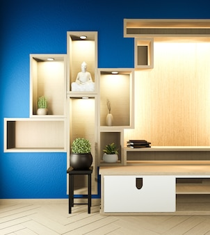 Półka drewniana w pokoju na ścianie granatowa zen styl i dekoracja japoński drewniany design. renderowania 3d