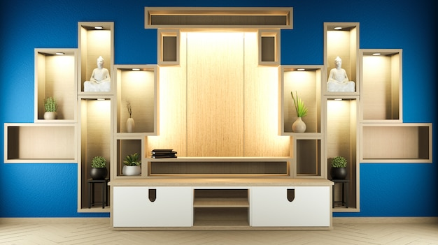 Półka drewniana w pokoju na ścianie w ciemnoniebieskim stylu zen i japońskim drewnianym designie. 3d rendering