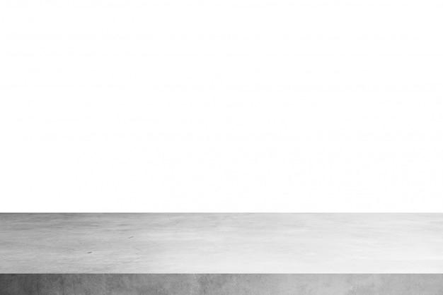 Półka na stół z cementu na białym tle, na produkty wystawowe