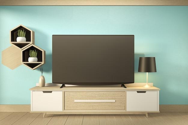 Półka na telewizor w miętowym pokoju w nowoczesnym tropikalnym stylu - puste wnętrze pokoju - minimalistyczny design. renderowania 3d