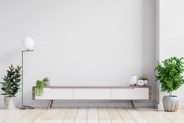 Półka na telewizor w nowoczesnym pustym pokoju, minimalistyczny design.