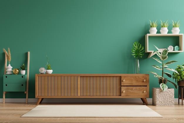 Półka na telewizor w nowoczesnym pustym zielonym pokoju. renderowanie 3d