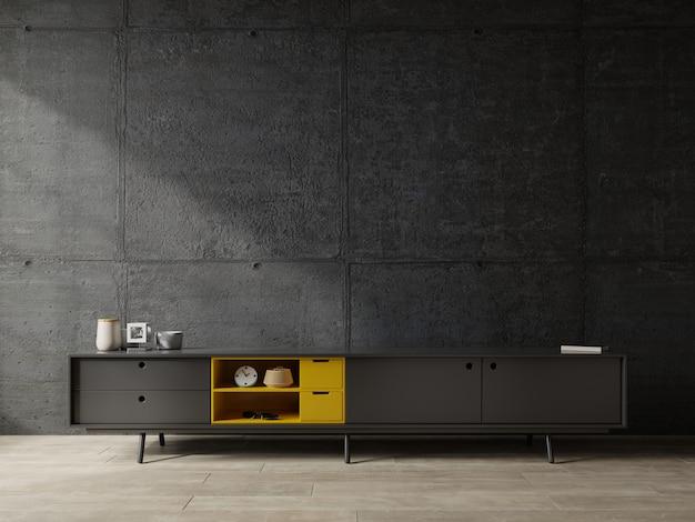 Półka na telewizor w nowoczesnym salonie betonowa ściana.